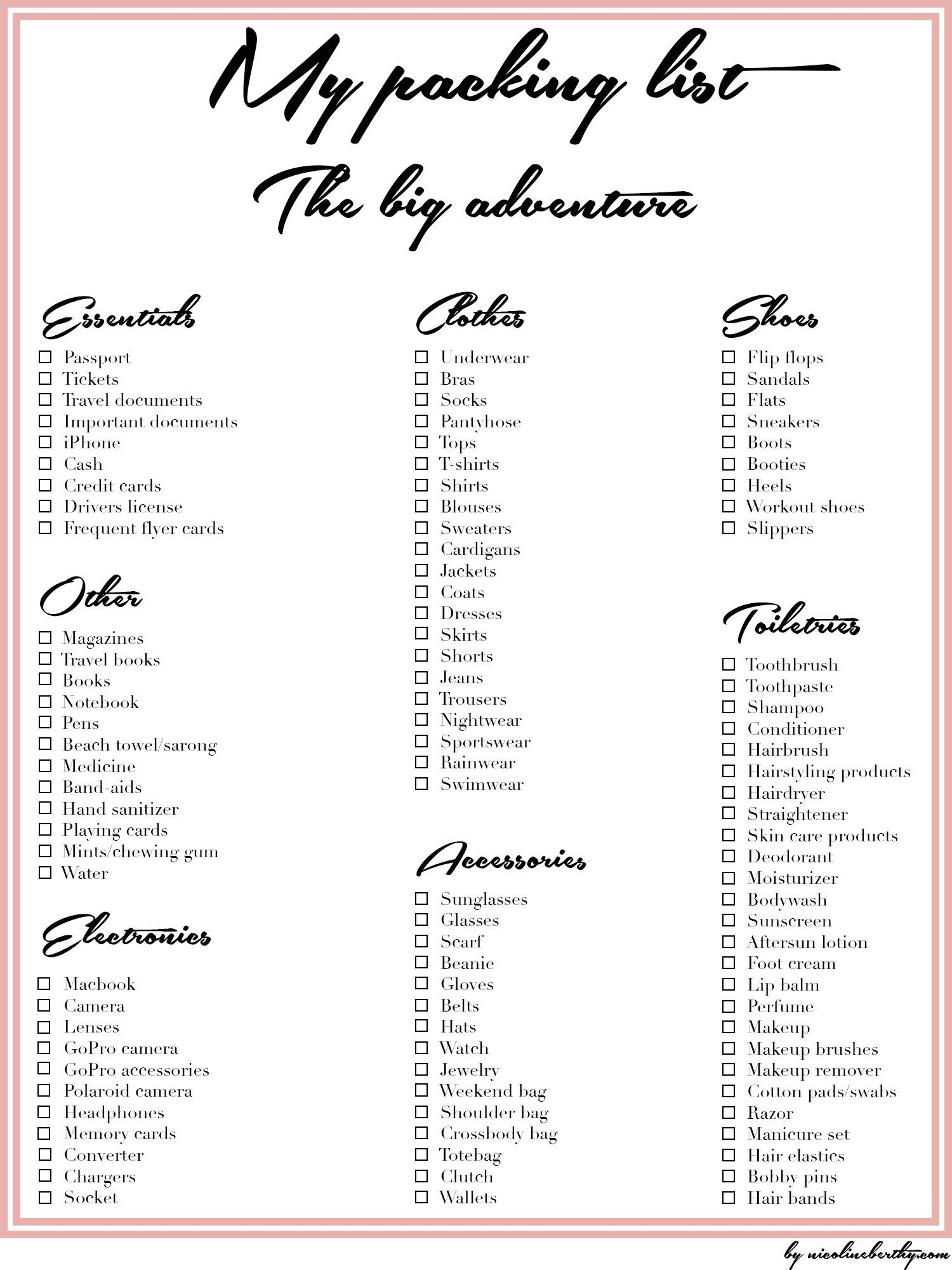 My packing list: The big adventure